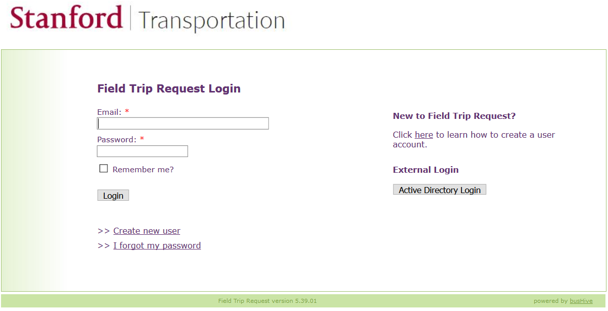 Field Trip Request login page screenshot