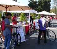 white plaza bike resource tent