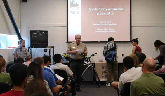 public safety officer presenting at bike safety class
