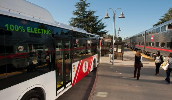 electric bus at Palo Alto Transit Center